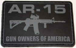 AR-15 GOA Patch – Rectangular Black with Gray Lettering