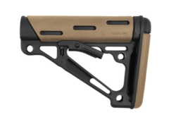 AR-15/M-16 OverMolded Collapsible Buttstock – Fits Mil-Spec Buffer Tube – Flat Dark Earth Rubber