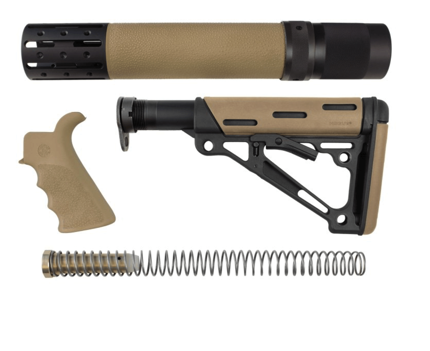 AR-15 Kit – Finger Groove Beavertail Grip, Rifle Length Forend with Accessories and OverMolded Collapsible Buttstock – Includes Mil-Spec Buffer Tube and Hardware (Flat Dark Earth)