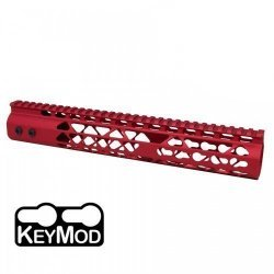 12″ AIR LITE KEYMOD FREE FLOATING HANDGUARD WITH MONOLITHIC TOP RAIL (RED) – BY GUNTEC