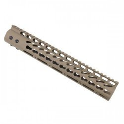 12″ ULTRA LIGHTWEIGHT THIN KEY MOD FREE FLOATING HANDGUARD WITH MONOLITHIC TOP RAIL (FLAT DARK EARTH) – BY GUNTEC