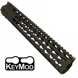 12″ ULTRA SLIMLINE OCTAGONAL 5 SIDED KEY MOD FREE FLOATING HANDGUARD WITH MONOLITHIC TOP RAIL (O.D. GREEN) – BY GUNTEC