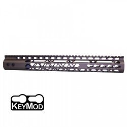 15″ AIR LITE KEYMOD FREE FLOATING HANDGUARD WITH MONOLITHIC TOP RAIL (BURNT BRONZE) – BY GUNTEC