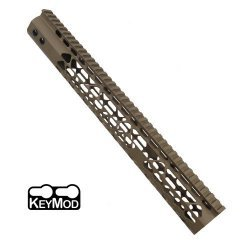 15″ AIR LITE KEYMOD FREE FLOATING HANDGUARD WITH MONOLITHIC TOP RAIL (FLAT DARK EARTH) – BY GUNTEC